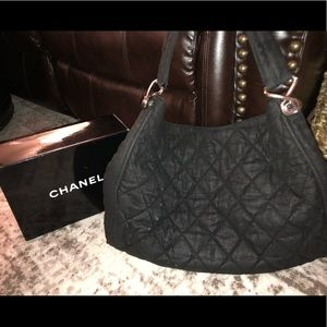 CHANEL huge quilted nylon shoulder tote bag